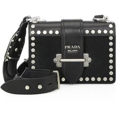 Prada Bandoliera Studded Calf Hair & Leather Shoulder Bag (9.170 RON) ❤ liked on Polyvore featuring bags, handbags, shoulder bags, purses, shoulder hand bags, man bag, handbags shoulder bags, prada handbags and man leather shoulder bag