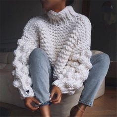 Knitted Autumn And Winter High Neck Loose Sweater - - Fashion High Neck Coarse Wool Knit Sweater Source by anarkanar Loose Sweater, Long Sleeve Sweater, Long Sleeve Tops, Winter Outfits For Teen Girls, Winter Outfits Women, Woman Outfits, Long Sweaters, Sweaters For Women, Pullover Mode