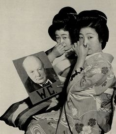 Japan. Japanese WW2 propaganda, 1940s geisha girls turning their noses up at winston churchill, bizarre, surreal , funny , vintage wartime propoganda photography...joke has something to do with his initials.