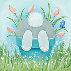 Social Artworking Canvas Painting Design – Shy Bunny - New Sites Canvas Painting Designs, Easy Canvas Painting, Spring Painting, Spring Art, Diy Painting, Canvas Paintings, Painting Classes, Canvas Art, Paint And Sip