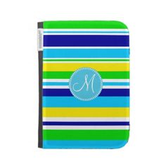 Monogram Summer Striped Teal Green Yellow Blue Cases For Kindle