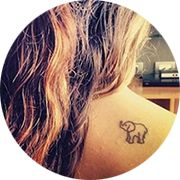 Small Elephant Tattoo Design: Right Upper Back of Shoulder