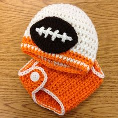 Crochet Baby Hat and Diaper Cover Football Team Colors Beanie (choose your team) University of Tennessee Volunteers custom colors via Etsy