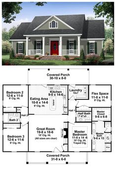 This well-designed plan provides many amenities that you would expect to find in a much larger home. The master suite features a wonderful bathroom with large walk-in closet. This plan also features a flex space which could be used as a fourth bedroom Dream House Plans, Small House Plans, My Dream Home, Dream Homes, One Floor House Plans, Square House Plans, Sims House Plans, House Plans One Story, Bungalow House Plans