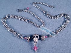 Pewter Skull Beads with Stainless Steel Chains Pink Black Crystals Silve rNecklace or Choose Colors. $31.95, via Etsy.
