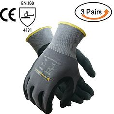 TARANTULA Nitrile Coated Safety Work Gloves for General Purposes, Lightweight Work Gloves, Grey Nylon With Spandex Shell, Black Micro Foam Nitrile and Dots on Palm and Fingers, 3 Pair Per Pack #TARANTULA #Nitrile #Coated #Safety #Work #Gloves #General #Purposes, #Lightweight #Gloves, #Grey #Nylon #With #Spandex #Shell, #Black #Micro #Foam #Dots #Palm #Fingers, #Pair #Pack