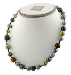 """Sterling Silver 9-12mm Dark Multi Ringed Freshwater Cultured Pearl on Chocolate Leather 18"""" Necklace"""