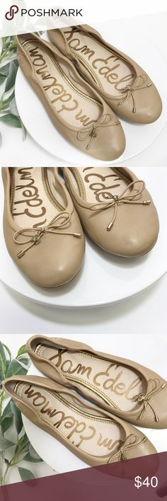 """SAM EDELMAN ballet flats size 7.5 Sam Edelman tan/beige ballet flats in very gently used condition. Leather upper in great condition without signs of wear, minor wear on soles. Bow details to toe and an """"SE"""" pendant. Initials """"SE"""" embroiled on heels of shoe. These are super comfortable and go with everything! Sam Edelman Shoes Flats & Loafers"""