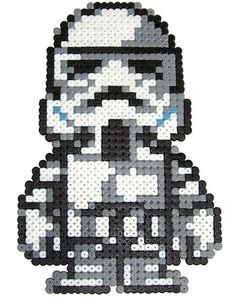 Stormtrooper Star Wars hama perler beads by Pixgraff. Use for cross stitch pattern! Perler Bead Designs, Hama Beads Design, Pearler Bead Patterns, Perler Patterns, Perler Beads, Fuse Beads, Hama Perler, Beaded Cross Stitch, Cross Stitch Patterns
