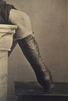 ca. 1865, [photograph of a prosthetic boot], M. Fontaine  via A Morning's Work: Medical Photographs from the Burns Archive & Collection, Stanley B. Burns.  Wow!!  Prosthetic limbs have come a long way!!