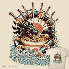 Dragon Sushi Ramen | Shirtoid #dragon #food #ilustrata #japanese #ramen #sushi Arte Do Sushi, Sushi Art, Japon Illustration, Japanese Illustration, Dragon Sushi, Canvas Prints, Art Prints, Japanese Art, Japanese Ramen
