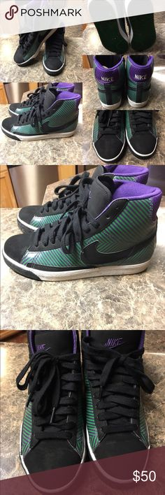 Nike Kicks Nike shoes purple,black and green.. worn twice like new.. box not included.. size boys boys grade school size 6.5... 7.5-8 for women Nike Shoes Athletic Shoes