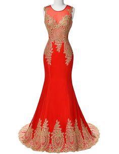 Grace Karin Red Long Wedding Dress Mermaid Modest Sheer Back Golden Lace Applique