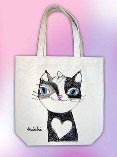 胸にハートのマーキングのあるニャンコ Cat Art, My Works, Reusable Tote Bags, Japanese, Cats, Products, Gatos, Japanese Language, Cat