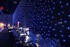 LED Guirlandes cascade 6m x 3m 800leds lumière rideaux lampe festival décoration pour maison magasin vitrine mur (bleu)