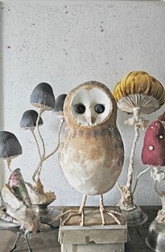 The amazing textile art of U. based artist Mister Finch - Animals, mushrooms, and large scale insects made with upholstery fabric and cloth Mr Finch, Mister Finch, Soft Sculpture, Sculptures, Fairytale Creatures, Art Fil, Mushroom Art, Mushroom Crafts, Paperclay