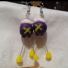 Drifloon (Pokemon) Earrings made with Fimo Baking Clay, wire, and earring joints.