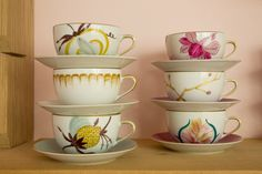 hand painted teacups by Marie Daâge