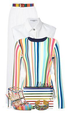 """~ 💕 Rainbows 💕 ~"" by pretty-fashion-designs ❤ liked on Polyvore featuring Michael Lo Sordo, STELLA McCARTNEY, Loewe, Milly, Mary Katrantzou, Valentino and Vanessa Mooney"