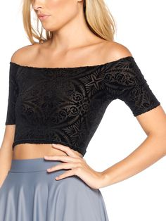 Burned Velvet Off the Shoulder Crop - LIMITED (AU $55AUD / US $40USD) by Black Milk Clothing