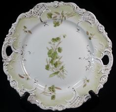 SCALLOPED Porcelain Ceramic CHINA Green and White Decorator plate unmarked