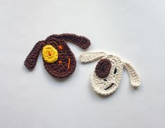 Dog Applique/ beginner / CROCHET pattern to purchase/ with symbol chart instr./ make smaller or larger by changing yarn & hook