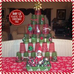Elf On The Shelf - Day 13: Plastic Cup Christmas Tree! #ElfOnTheShelf