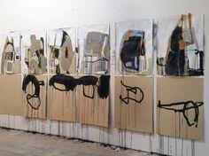 "Artist Studio, Anna Schuleit Haber The Voice Imitator series Mixed media on paper, 22"" x 30"" each"