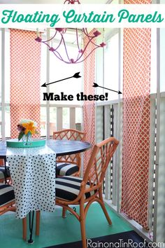 These floating curtain panels are such a cool idea and great alternative to regular curtains! They use a little less fabric too! Floating Curtain Panels