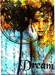 Think Monday Think ATC - Paperbag Studio stamped on a transparent layer over a gorgeous face - wish I knew where it came from
