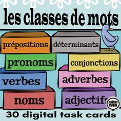 With these digital task cards, learn the parts of speech in French. Nouns, verbs, adjectives, adverbs, prepositions, pronouns, articles and conjunctions--the building blocks of language--will finally make sense and provide shared vocabulary for your French program. Cards are illustrated to support understanding.