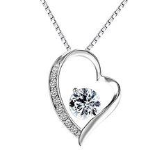 Total schicke Halskette in Herzform -- Pealrich 925 Sterling Silber Kette, Kristall Halskette