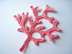 Crochet Coral Branch Applique in Pink. $2.00, via Etsy.
