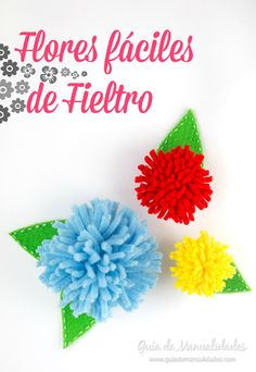Flores fáciles de fieltro Felt Flowers, Fabric Flowers, Crepe Paper, Photo Tutorial, Baby Bows, Diy Projects To Try, Flower Power, Card Stock, Hair Accessories