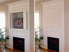 Built In Hide Tv Over Fireplace Surrounds Design