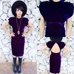 Vintage 80s Does 40s Purple Crushed Velvet Mock Turtle Neck Open Back Dress S9 SOLD! https://www.etsy.com/listing/204472526/vintage-80s-does-40s-purple-crushed?