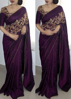 * Saree Fabric : Paper Silk * Saree Color : Purple * Saree Length : M * Blouse Fabric : Paper Silk * Blouse Color : Purple * Blouse Length : M * Work : Embroiderey Work * Look : Designer * Wash Care : Hand Wash * Delivery Saree Designs Party Wear, Party Wear Sarees, Chiffon Saree Party Wear, Party Wear Indian Dresses, Dress Party, Trendy Sarees, Stylish Sarees, Cutwork Saree, Embroidery Saree