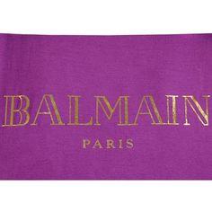 BALMAIN Logo Printed Cotton Jersey ($285) ❤ liked on Polyvore featuring tops, logo tops, purple top, sleeveless tops and balmain