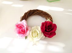 Red  rose  flowers  wreath  red flowers  by LeatherAndRoses
