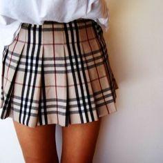Burberry Ladies Pleated Mini Skirt In Kilt Style