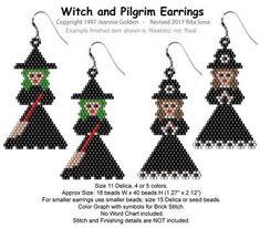 Witch and Pilgrim Earrings, Sova Enterprises Beaded Earrings Patterns, Seed Bead Patterns, Peyote Patterns, Beading Patterns, Beading Tutorials, Bracelet Patterns, Seed Bead Jewelry, Seed Bead Earrings, Halloween Beads