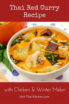 Light Chicken Curry w/ Winter Melon Recipe แกงไก่ใส่ฟักเขียว. What's special about this curry is that it's so light a brothy. Think comforting chicken soup, but with the flavours of a red curry. Easy Asian Recipes, Thai Recipes, Healthy Recipes, Healthy Meals, Weeknight Recipes, Dinner Healthy, Drink Recipes, Dinner Recipes, Melon Recipes