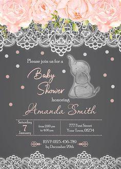 Chica de elefante bebé ducha invitación elefante rosa bebé