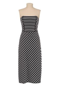 Open Back Striped Mid Length Dress available at #Maurices