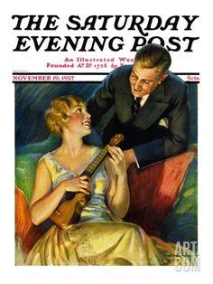 """Ukulele Baby,"" Saturday Evening Post Cover, November 19, 1927 Giclee Print by Bradshaw Crandall at Art.com"