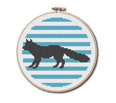 Arctic Fox Silhouette Cross Stitch Pattern Instant Download