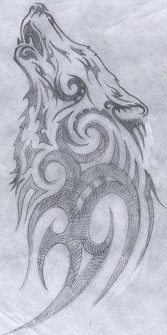 Wolf tribal tattoo