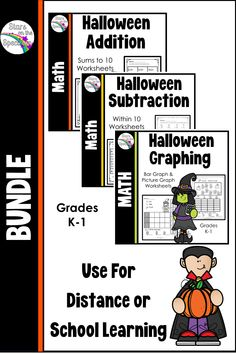 Over 200 pages of Halloween themed math worksheets for addition, subtraction, graphing for grades K-1. Lots of variations so that you can differentiate for your students. Addition sums to 10, Subtraction facts within 10 and bar and picture graphing. Just check the table of contents for the skill you need. Simple graphics highlight favorites of the Halloween season. Put a couple in your sub folder, use for morning work, homework or even at a center.#halloweenmath#starsonthespectrum
