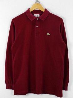 Lacoste Mens Polo Shirt, Size 3, M, Red Bordeaux, Long Sleeve, Cotton