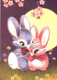Vintage Pictures, Cute Pictures, Easter Bunny Pictures, Cute Animal Illustration, Bunny Art, Beautiful Gif, Illustrations, Animal Paintings, Aesthetic Art